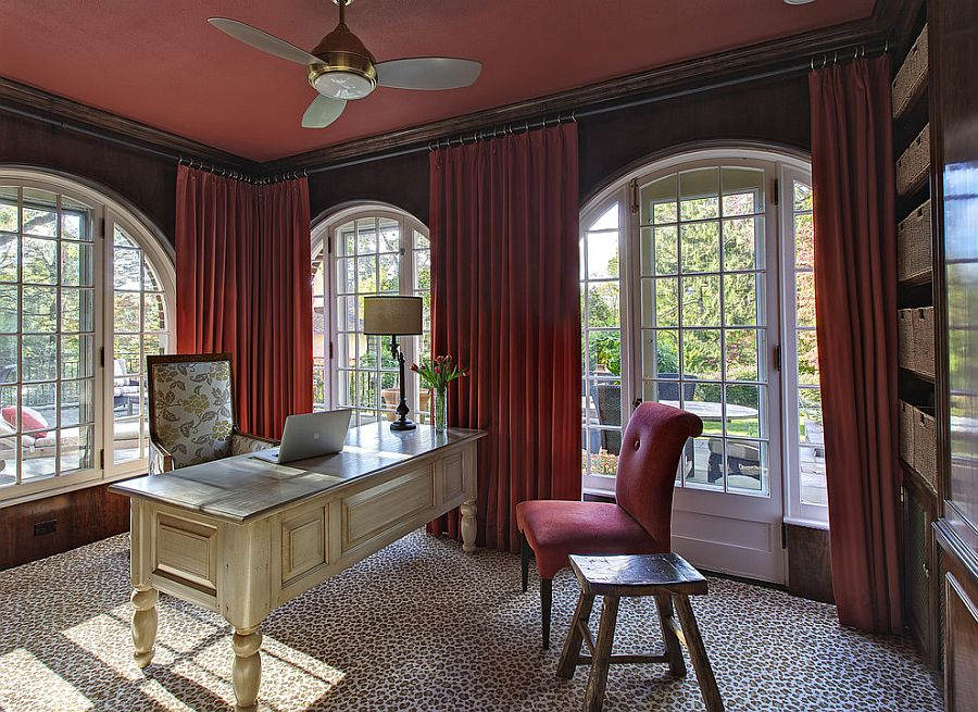 Even the ceiling and drapes embrace a bold splash of color in this home office [Design: B Fein Interiors]