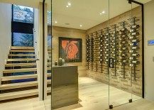 Expansive wine cellar under the staircase