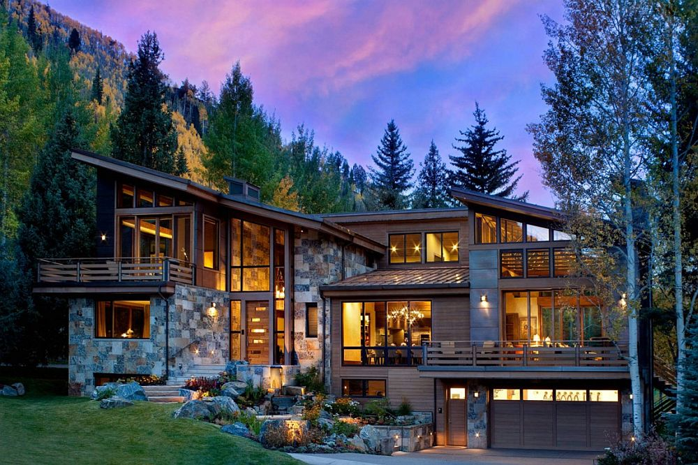 View In Gallery Exterior Of The Ptarmigan Residence Clad In Natural  Dry Stack Stone, Copper Paneling And