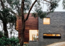 Exterior of the contemporary Aussie home in concrete and fire-resistant wood