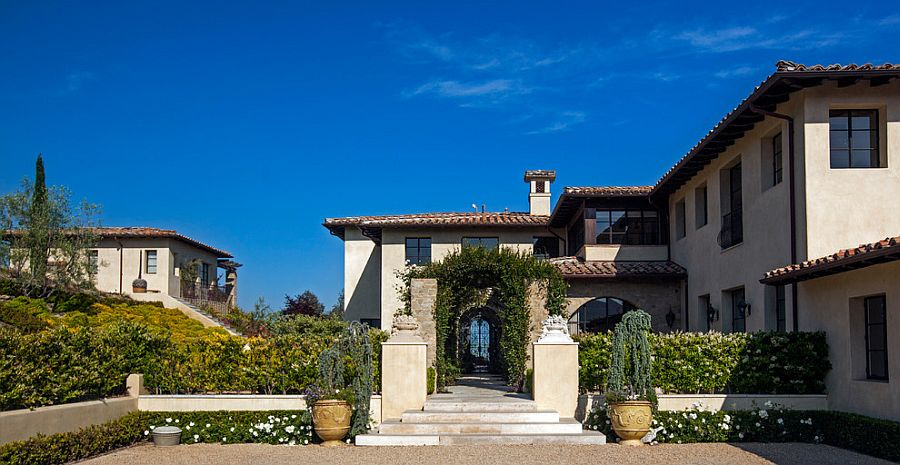 Fabulous entry of the Malibu home with distinct Tuscan appeal