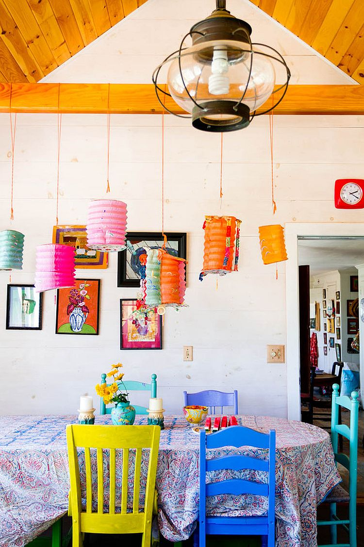 Fabulous farmhouse style dining room celebrates color and creativity [Photography: Rikki Snyder]
