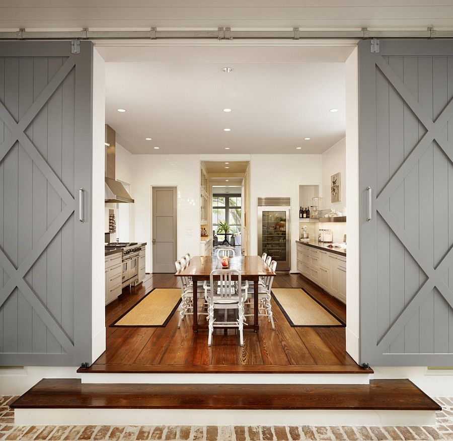 Fabulous gray sliding doors for the stylish modern kitchen [Design: Dillon Kyle Architecture]
