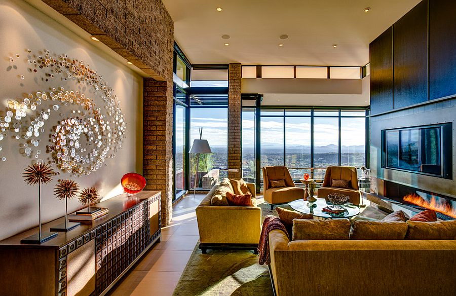 Fabulous living room offers a great view of the city and the distant mountain ranges