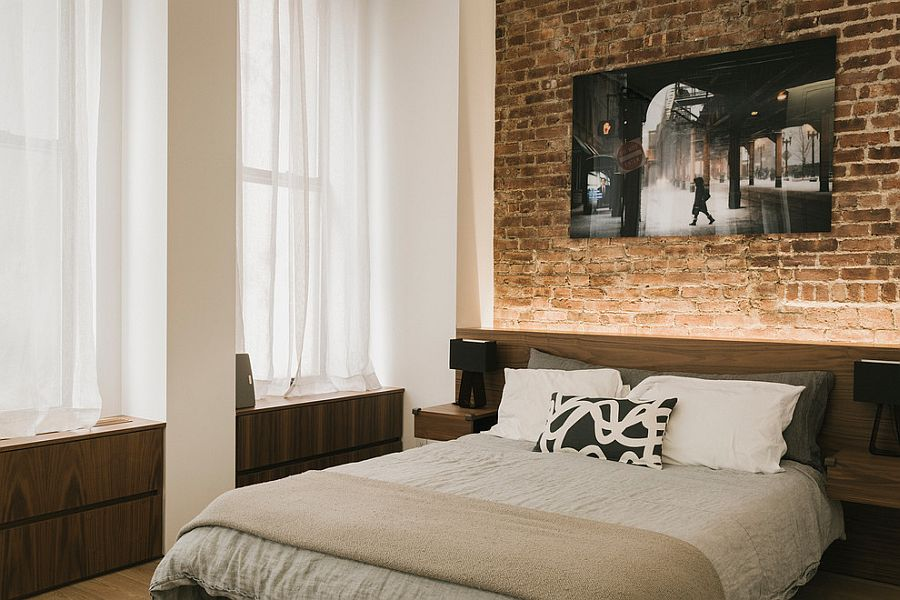 Fabulous use of led lighting to highlight the accent brick for Brick accent wall bedroom
