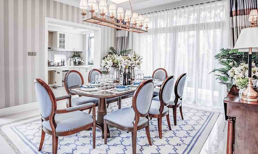 beautiful dining room furniture. Shabby Chic Dining Room Furniture Beautiful Pictures. View In Gallery Fabulous Wallpaper, Drapes And