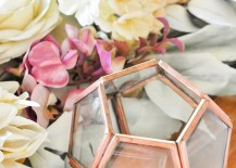 Faceted decor with copper trim