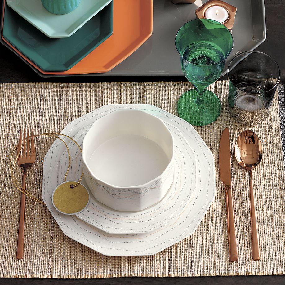 Fall table setting featuring copper flatware from CB2