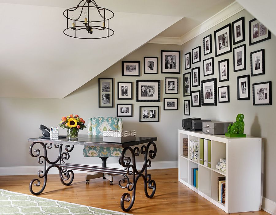 view in gallery family photos and a beautiful desk shape this corner home office from emily followill