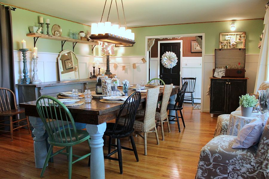 Farmhouse style works well with shabby chic overtones