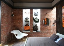 Fashionable collection of bags on display in the quirky bedroom