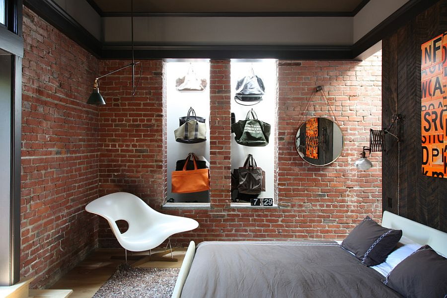 Fashionable collection of bags on display in the quirky bedroom 50 Delightful and Cozy Bedrooms with Brick Walls