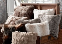 Faux fur pillows from Pottery Barn