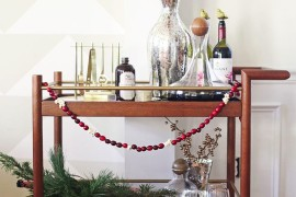 Festive holiday bar cart from In Honor of Design