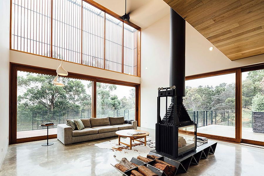 Fireplace adds warnth to the open living area of the Ballarat home