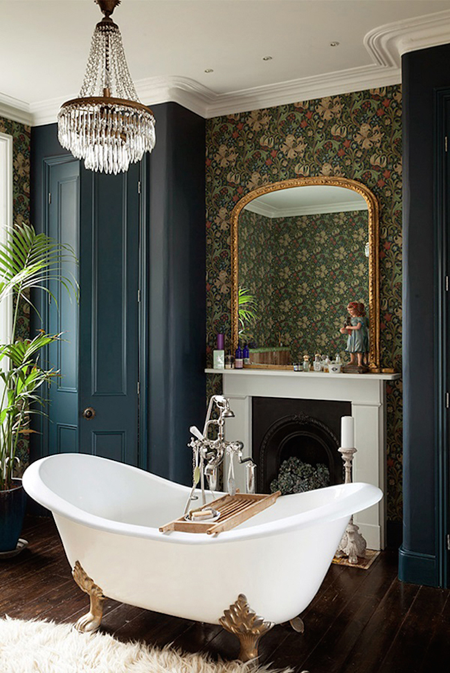 Fireside clawfoot tub in a Victorian home
