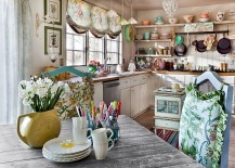 Flea market finds combined with beautiful layout and open shelving creates a gorgeous kitchen 217x155 50 Fabulous Shabby Chic Kitchens That Bowl You Over!