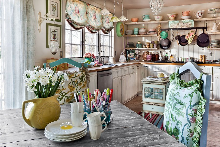 Flea market finds combined with beautiful layout and open shelving creates a gorgeous kitchen