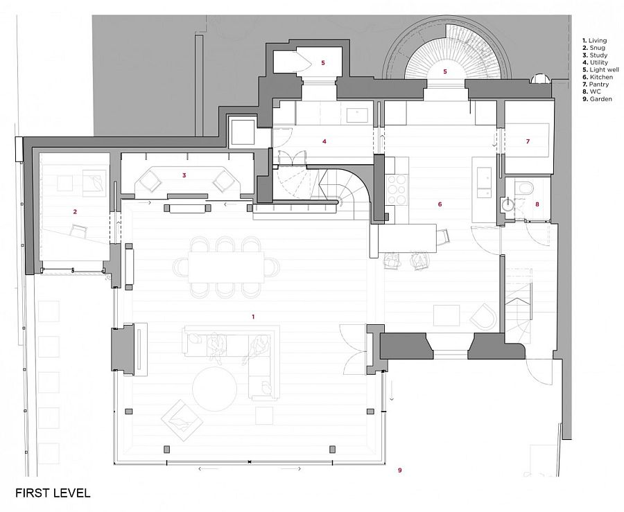 Floor plan of lower level of the revamped London Residence