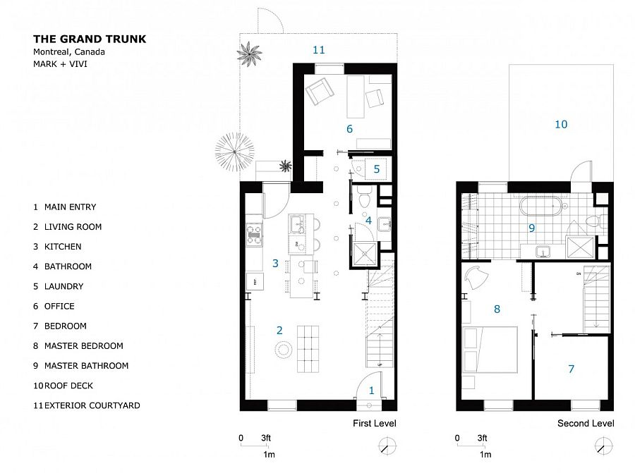 Floor plan of the remodeled row house by Mark+VIVI