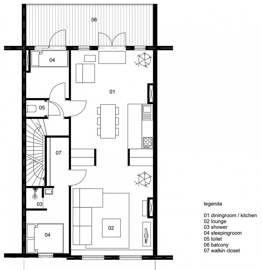 Floor plan of the small renovated top floor Dutch apartment