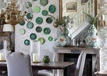 Floral wallpaper from Ralph Lauren sets the tone for a stylish, shabby chic dining space