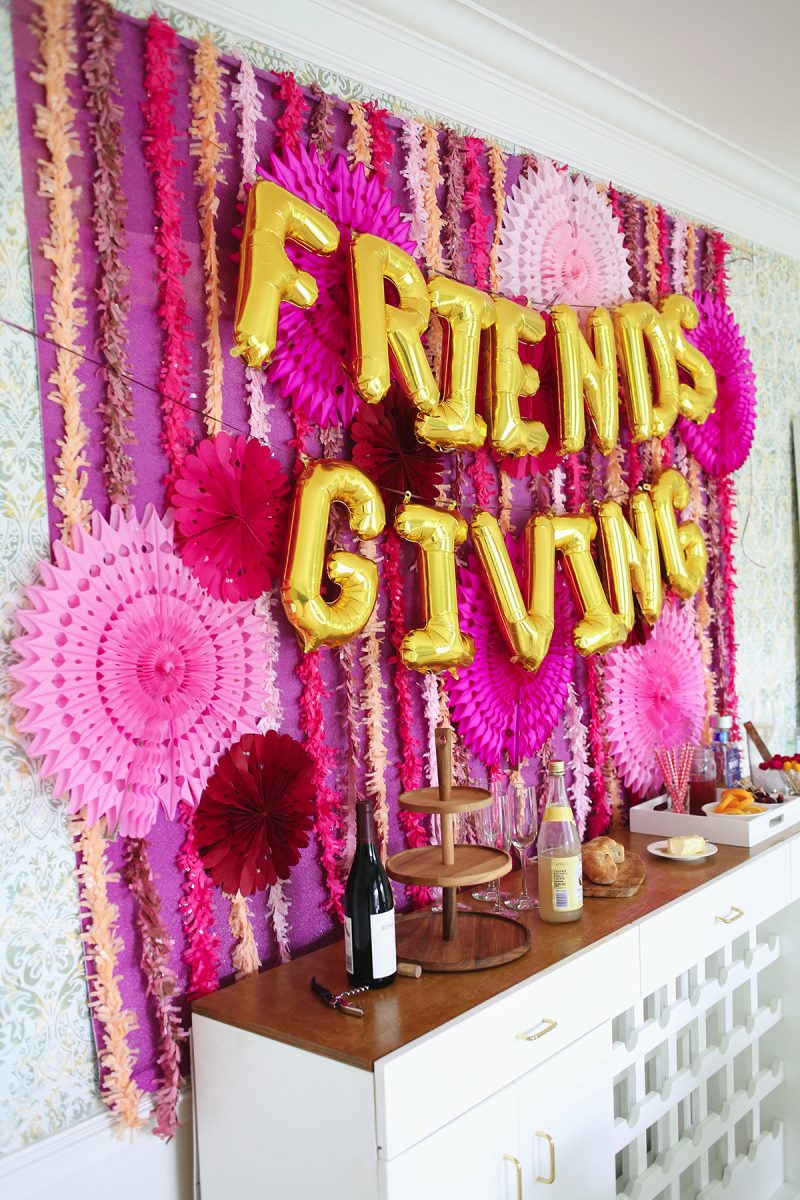 Friendsgiving party supplies in shades of pink