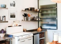 Frosted glass cabinet door rolls in a hint of modernity into the shabby chic kitchen