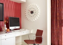 Fusion in Rose wallpaper, chair and the curtain in the backdrop add red to the home office