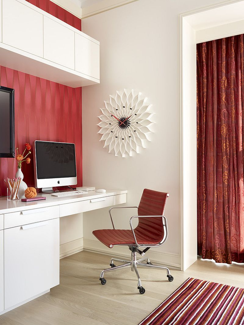 Fusion in Rose wallpaper, chair and the curtain in the backdrop add red to the home office [Design: Jessica Lagrange Interiors]