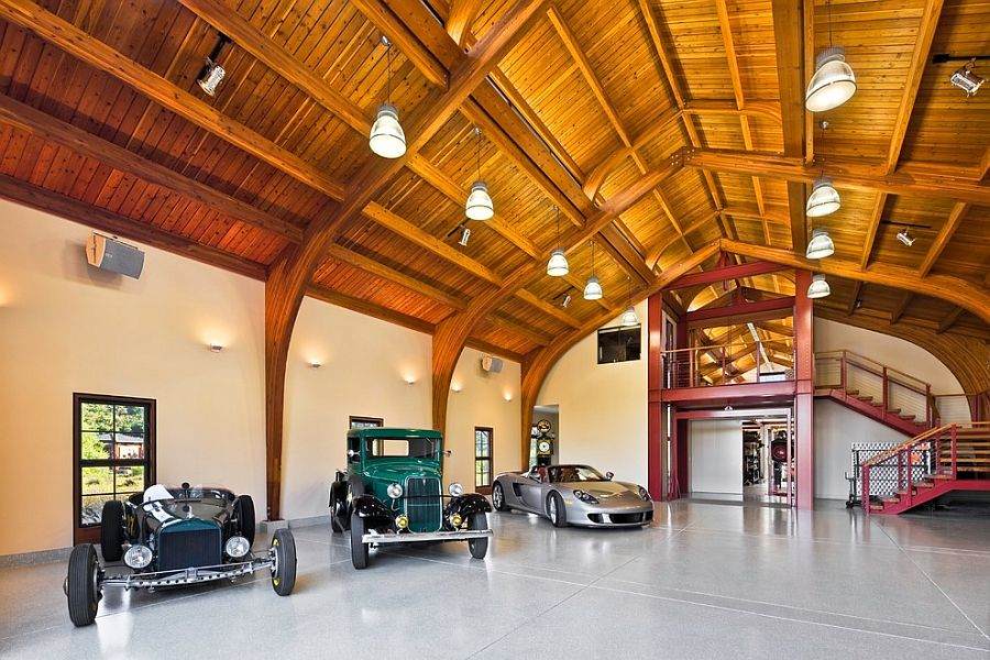Garage showcases the personal car collection of the homeowner