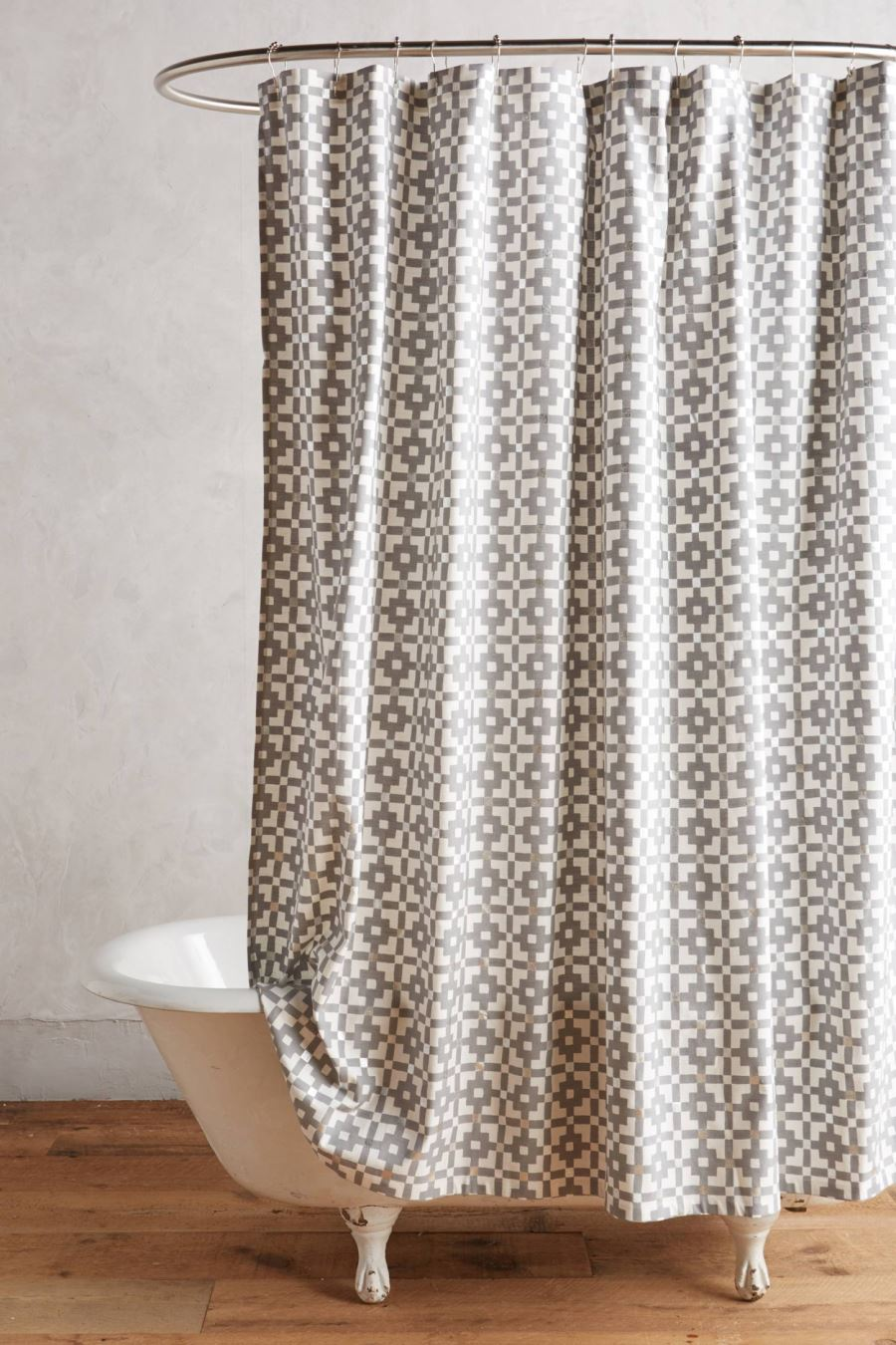 beige and white shower curtain. View In Gallery Geo Shower Curtain From Anthropologie The Latest Shower Curtain Trends