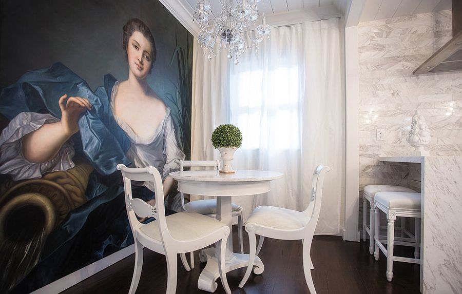 Giant custom painting takes over the ambiance of the dining room [Design: Liquid Design & Architecture]