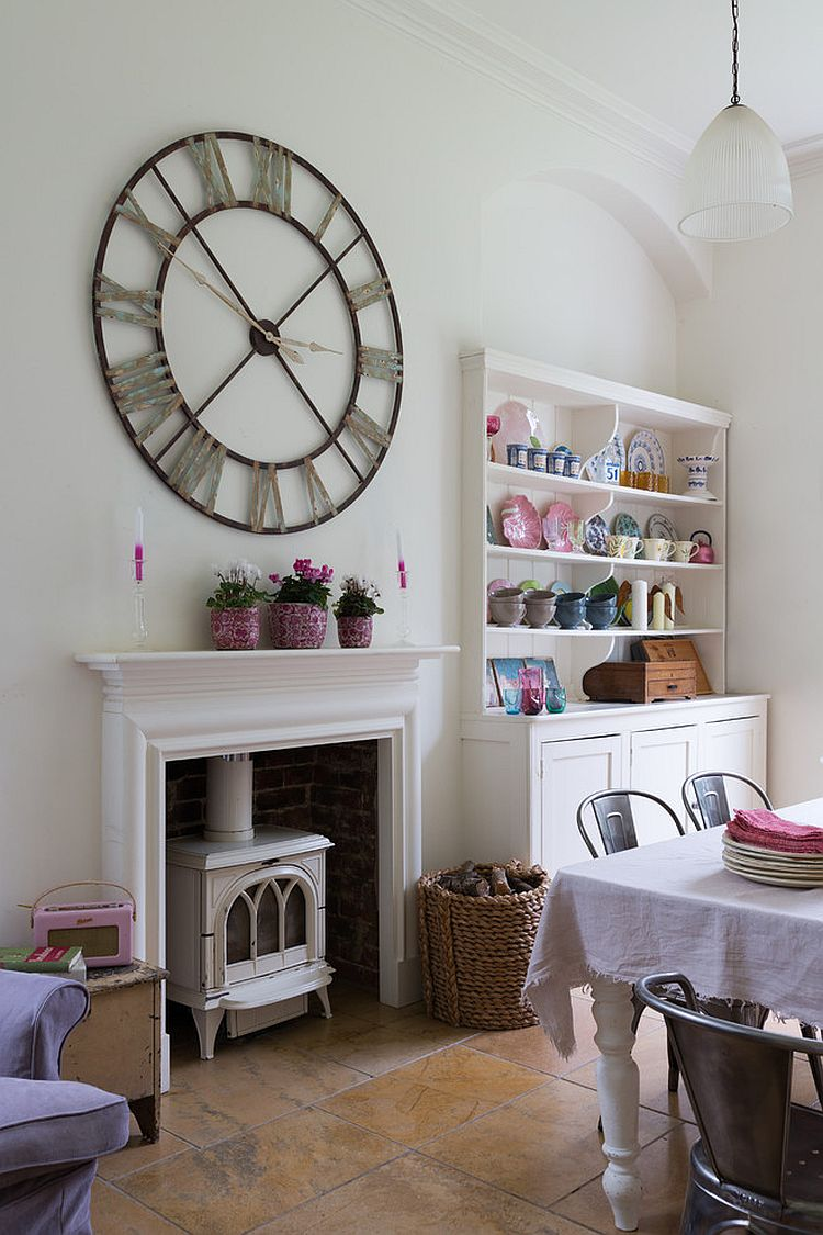 Giant wall clock and corner hutch add personality to this dining room [From: Paul Craig Photography / Velvet & Dash Design]