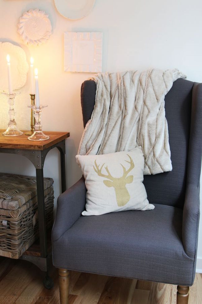 Gold deer pattern on decorative pillow