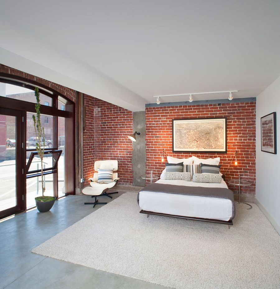 Gorgeous Bedroom With Brick Wall, Concrete Flooring And