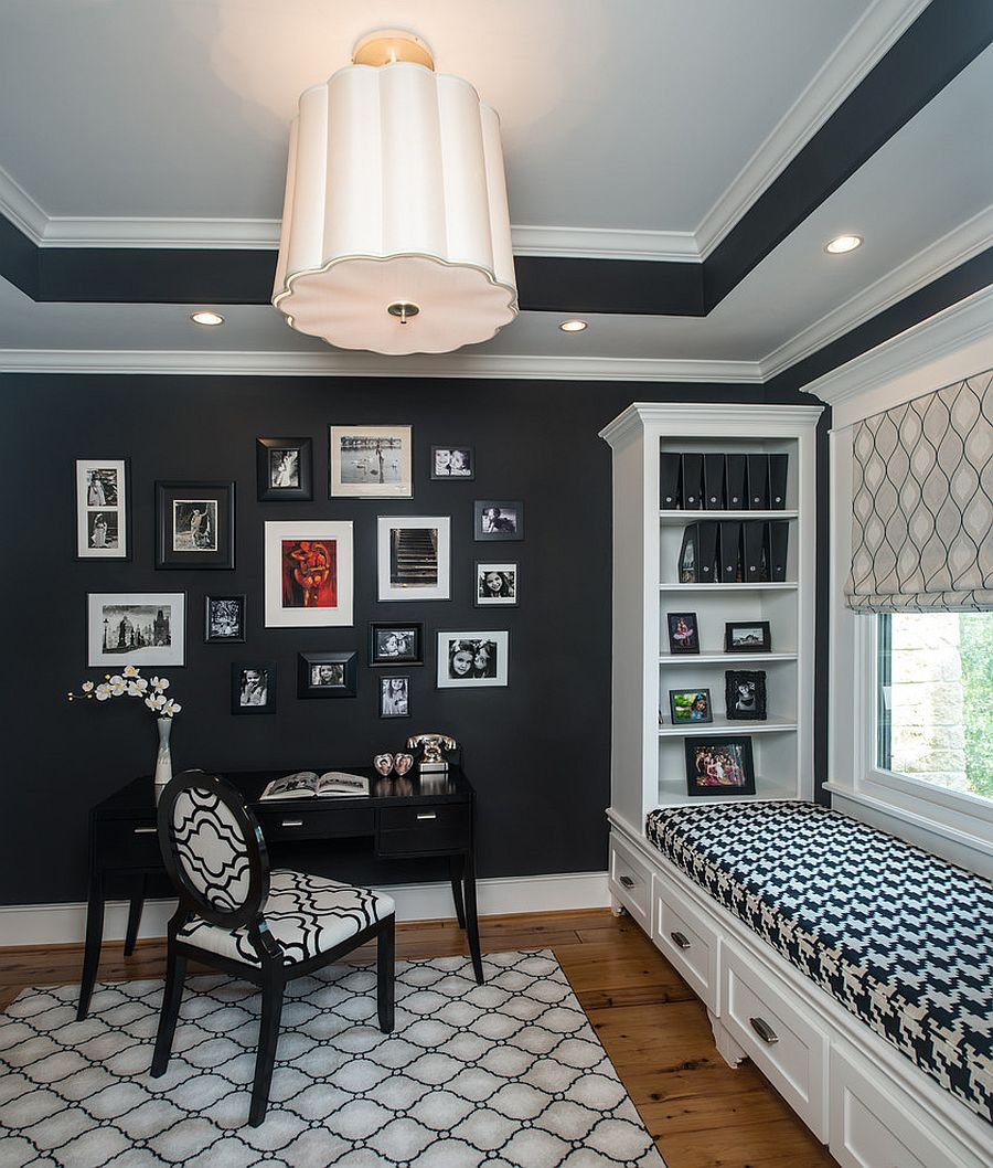 Gorgeous black and white home office with window seat and a craft closet [From: Laura Manchee Designs /Photography: Miro Dvorscak]