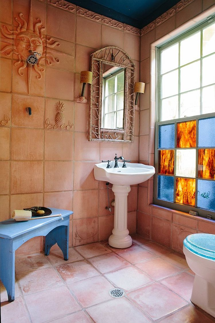 Gorgeous rustic bathroom with terracotta tiles for the wall and flooring [From: Anna Addison Photography]