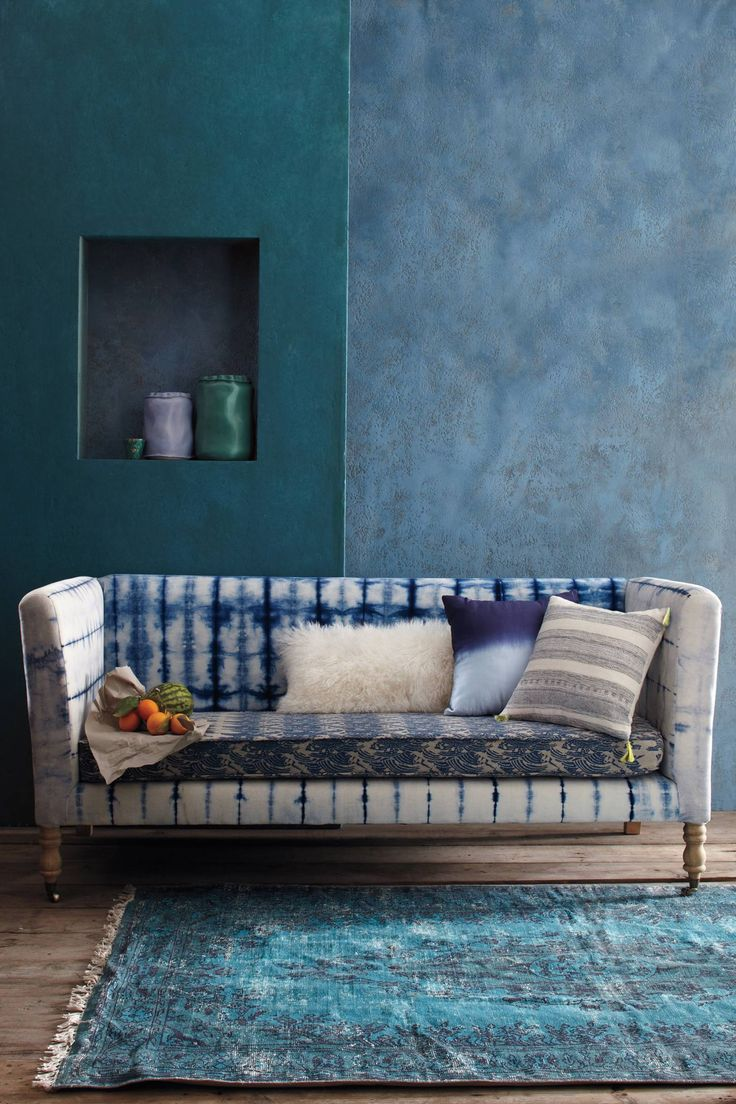 Hand-dyed shibori sofa from Anthropologie
