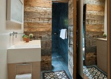 Hard to miss the magic of reclaimed wood in this space-conscious bathroom