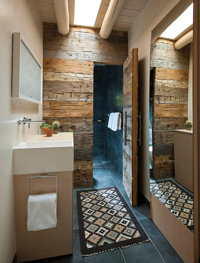 view in gallery hard to miss the magic of reclaimed wood in this bathroom