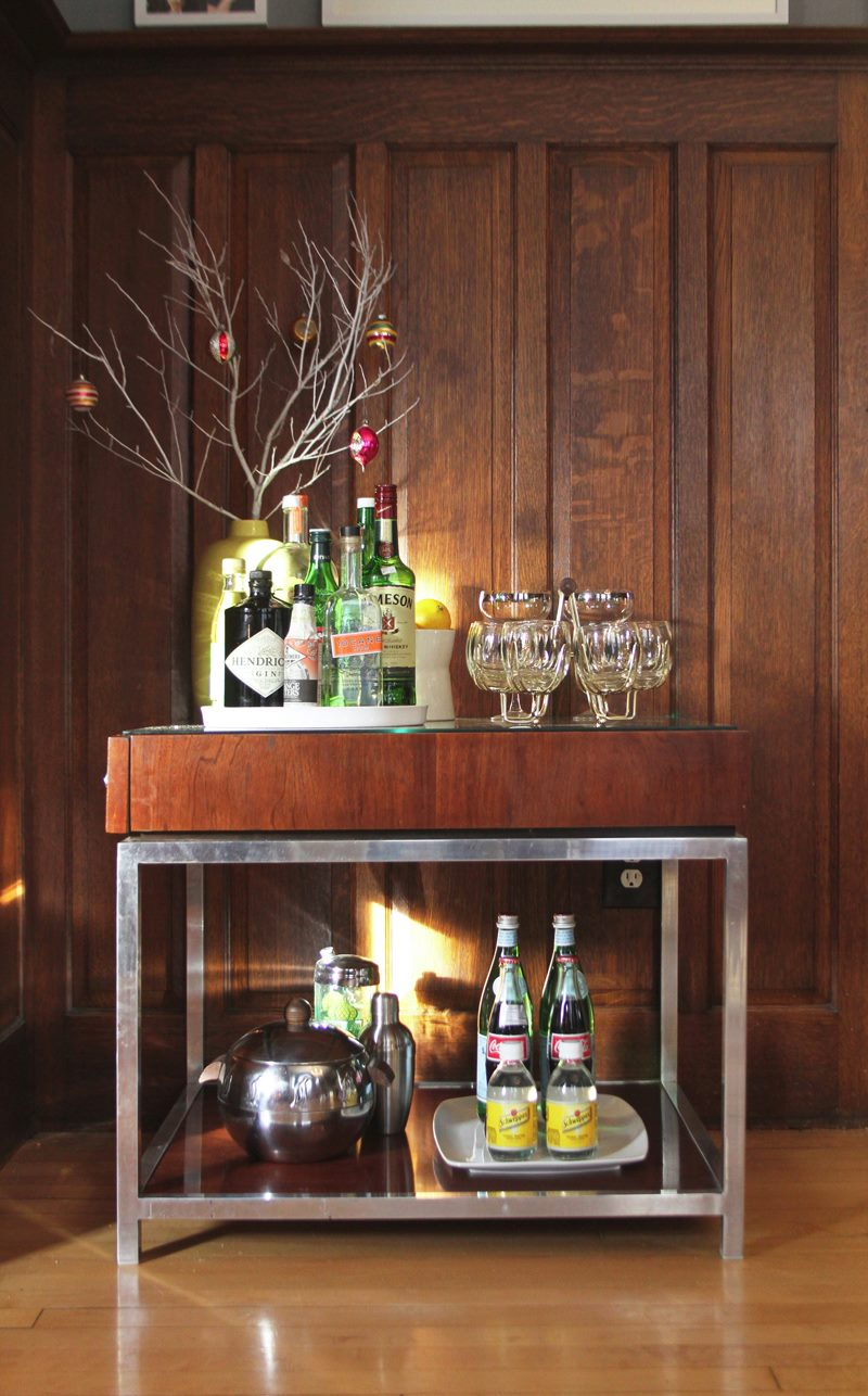 Holiday bar cart from Deuce Cities Henhouse