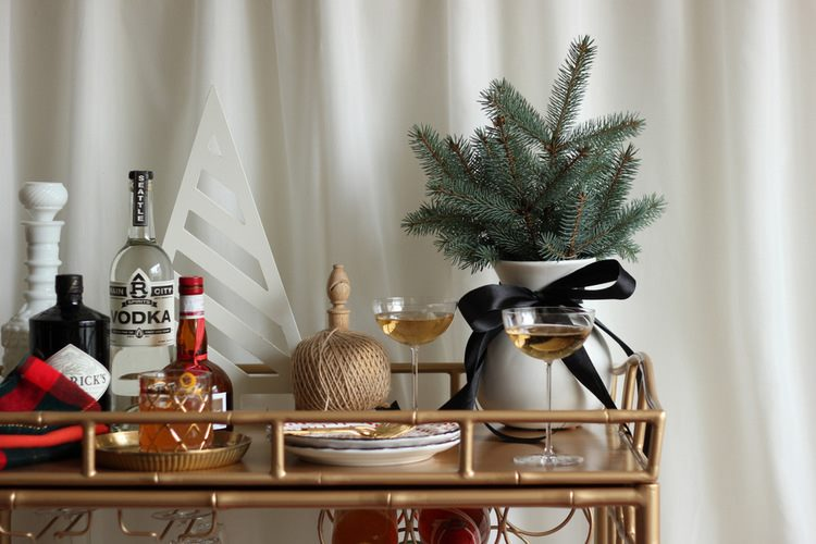 Holiday bar cart from Hank & Hunt