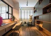 Home office that can be turned into a guest room with smart storage units