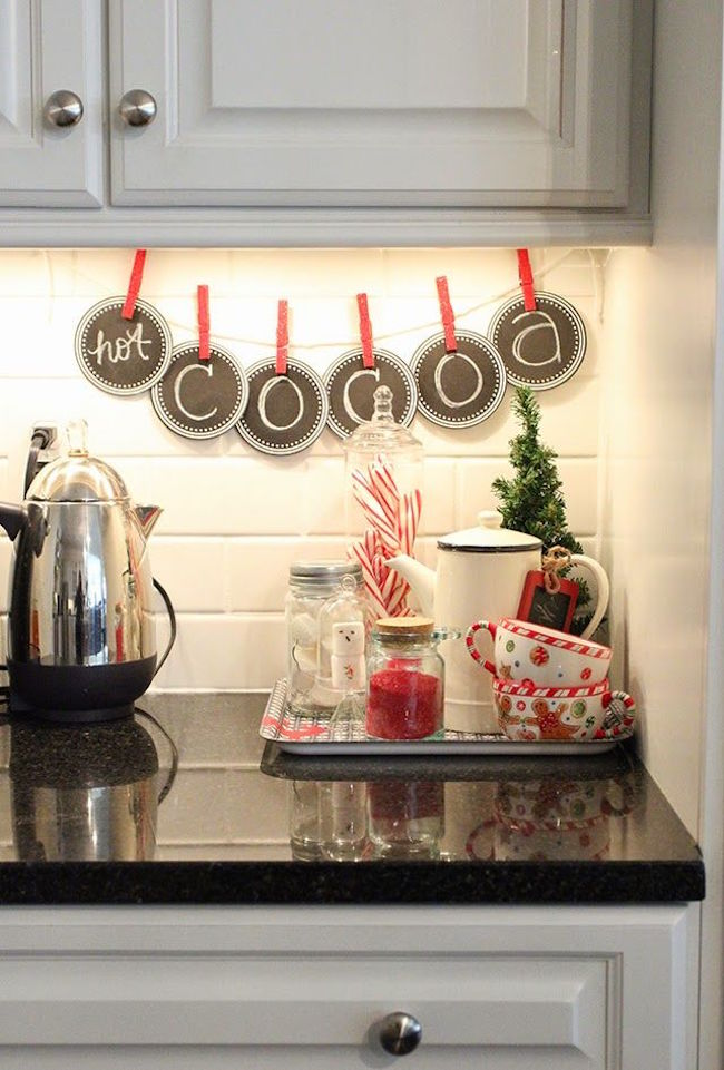 Hot Cocoa holiday themed banner in kitchen