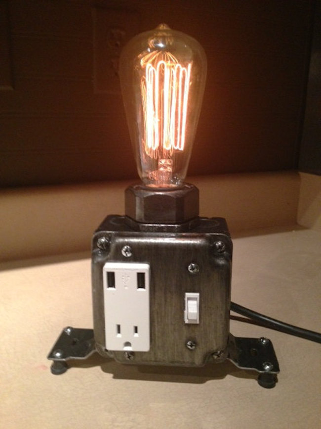 Industrial desk lamp with plug and USB support from MartyBelkDesigns