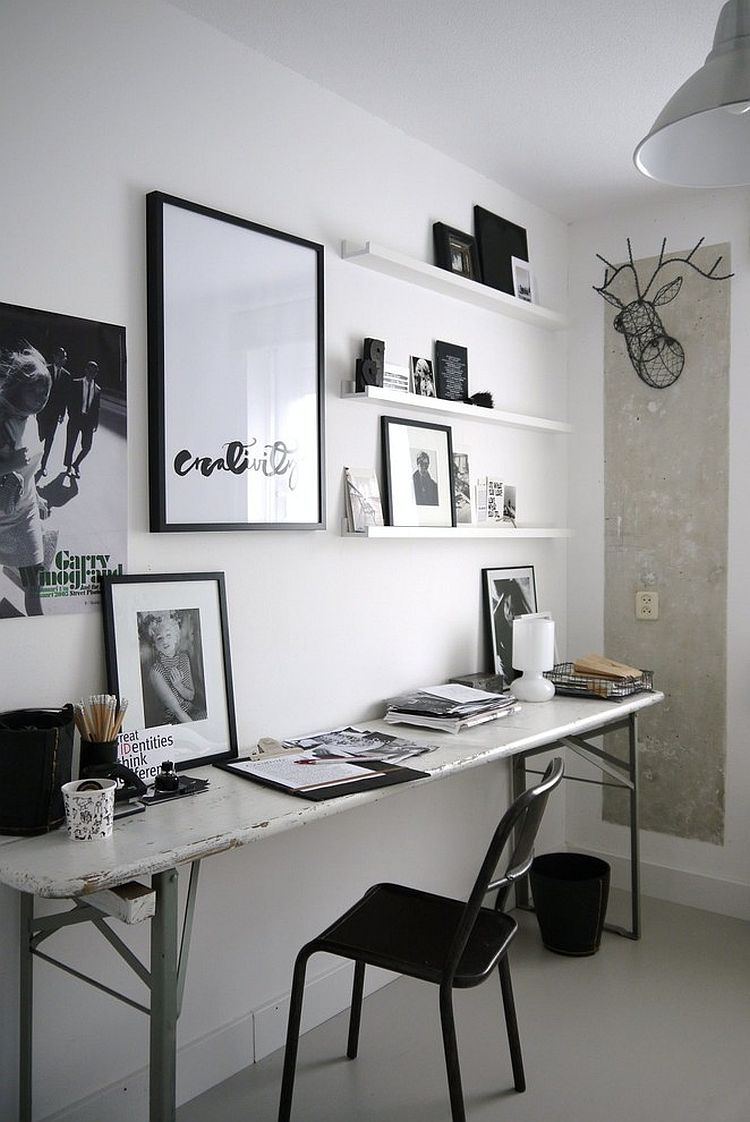Industrial home office features a sleek desk with weathered look [Design: Desiree Vosgesparis]