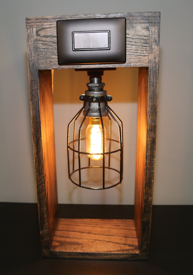 ... Industrial Lamp With Oak Base From HomeProsPlus