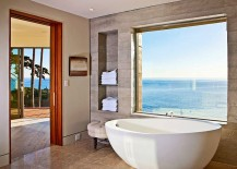 Industrial style bathroom of LA home with ocean view 217x155 20 Luxurious Bathrooms with a Scenic View of the Ocean