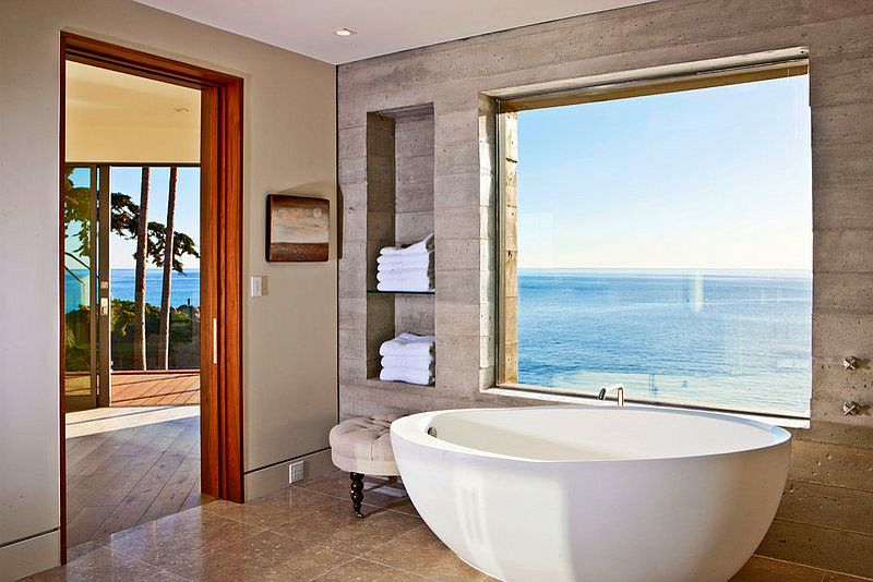 Industrial style bathroom of LA home with ocean view [Design: Burdge & Associates Architects]